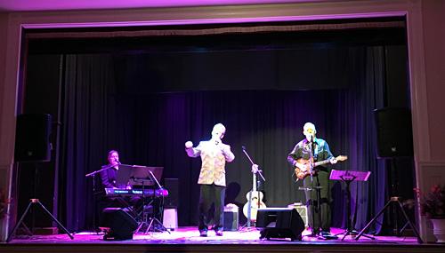 Greg, Wayne and Bob on the Swanpool Hall/Cinema stage